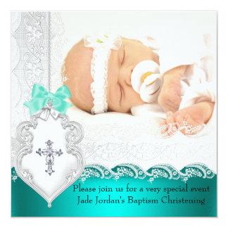 Mädchen-oder Jungen-Taufe-Jade-aquamarines weißes Quadratische 13,3 Cm Einladungskarte