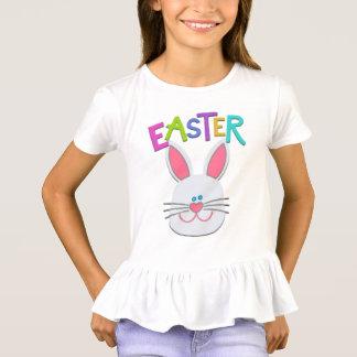 Mädchen-Osterhasen-gekräuselter T - Shirt