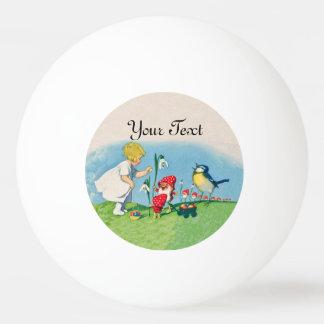 Mädchen-Ostern Lilly Gnome-Elfe, die Vogel-Korb Tischtennis Ball