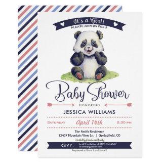 Mädchen-Panda-Babyparty-Einladung 12,7 X 17,8 Cm Einladungskarte
