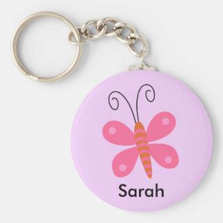 Mädchen-personalisierter rosa schlüsselanhänger