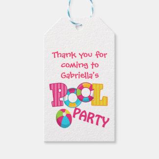 Mädchen-Pool-Party-personalisierte Geschenkanhänger