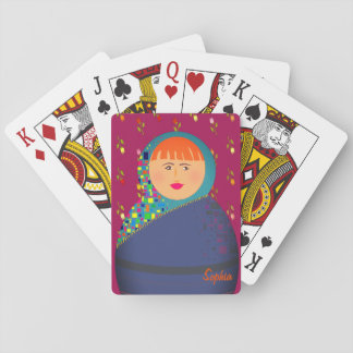 Mädchen-Porträt lila personalisierter Mit Spielkarten