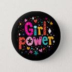 Mädchen-Power-Blumenherz-Knopf Runder Button 5,7 Cm