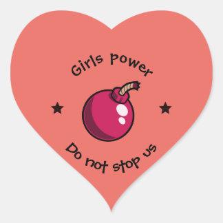 Mädchen-Power Herz-Aufkleber