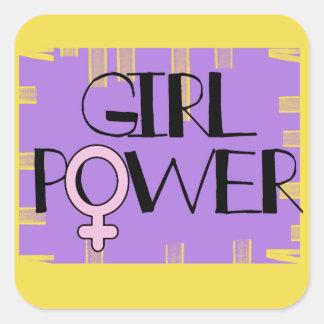 Mädchen-Power-Quadrat-Aufkleber Quadratischer Aufkleber