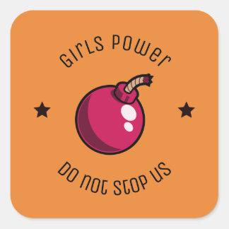 Mädchen-Power Quadratischer Aufkleber