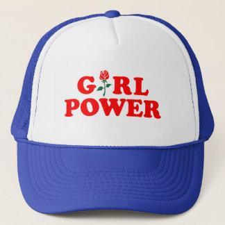 Mädchen-Power-weißer blauer Fernlastfahrer-Hut Truckerkappe