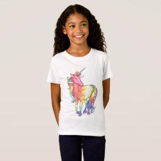 Mädchen-Regenbogenunicorn-T - Shirt