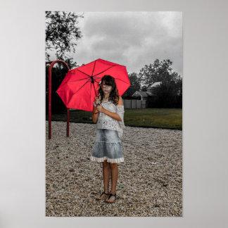Mädchen-Regenschirm-Park-Regen-Plakat Poster