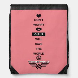 Mädchen retten die Weltwunder-Frauen-Grafik Turnbeutel