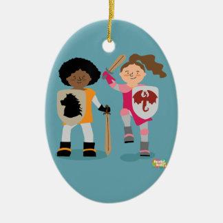 Mädchen-Ritter heraus Keramik Ornament