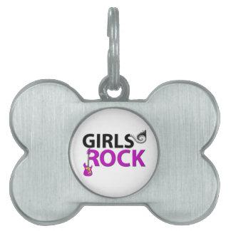 Mädchen-Rock-Gitarren-Klavier-Schlüssel u. Musik Tiermarke