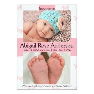 Mädchen-Rosa-Geburts-Mitteilung des 8,9 X 12,7 Cm Einladungskarte