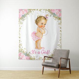 Mädchen-rosa GoldBabyparty-Fahnen-Hintergrund Wandteppich