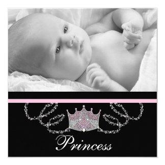 Mädchen-rosa Prinzessin Birth Announcements Quadratische 13,3 Cm Einladungskarte