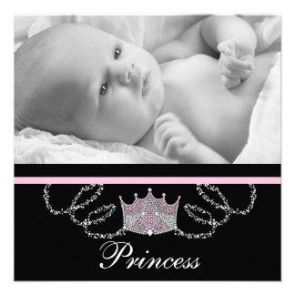 Mädchen-rosa schwarze Prinzessin Birth Announcemen