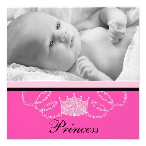 Mädchen-rosa schwarze Prinzessin Birth Announcemen Individuelle Ankündigskarten