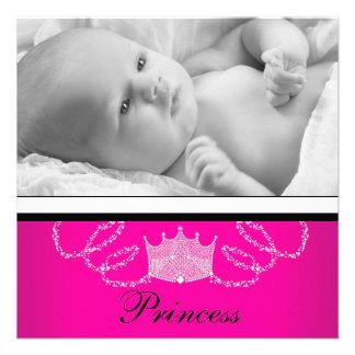 Mädchen-rosa schwarze Prinzessin Birth Announcemen Einladung