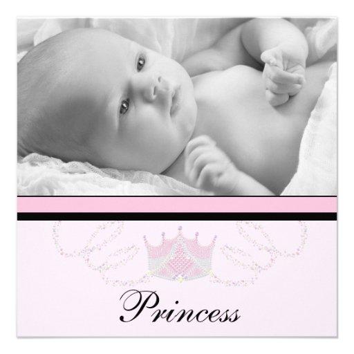 Mädchen-rosa schwarze Prinzessin Birth Announcemen Ankündigungen