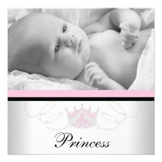 Mädchen-rosa schwarze Prinzessin Birth Announcemen Einladungskarte
