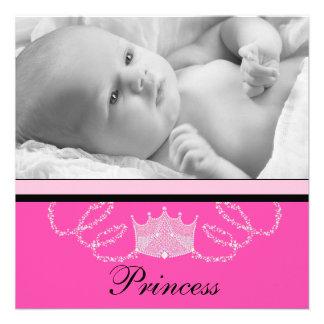 Mädchen-rosa schwarze Prinzessin Birth Individuelle Ankündigskarten