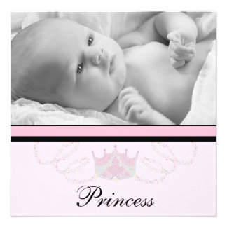 Mädchen-rosa schwarze Prinzessin Birth Ankündigungen