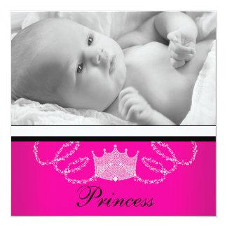 Mädchen-rosa schwarze Prinzessin Birth Quadratische 13,3 Cm Einladungskarte