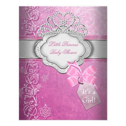 Mädchen-Rosa-Tiara-Prinzessin Prinzessin-Babyparty Individuelle Einladungskarten
