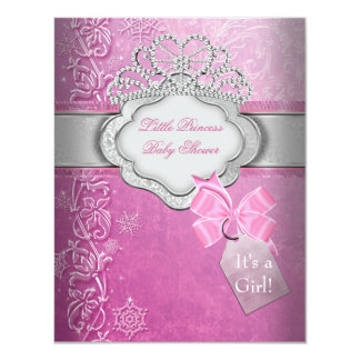 Mädchen-Rosa-Tiara-Prinzessin Prinzessin-Babyparty 10,8 X 14 Cm Einladungskarte