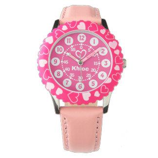 Mädchen rosa u. weiße kurze Namensarmbanduhr Uhr