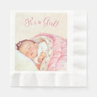 Mädchen-rosa Vintage Baby-Dusche Serviette