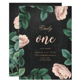 Mädchen-Rosen-erste Geburtstags-Einladungs-Tafel Karte