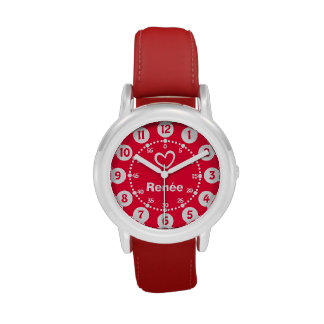 Mädchen rot u. kurze Namensarmbanduhr des weißen Uhren