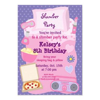 Mädchen-Schlummer-Partysleepover-Pyjama-Einladung 12,7 X 17,8 Cm Einladungskarte