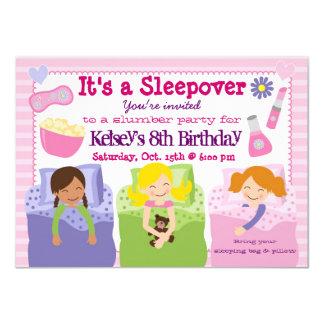 Mädchen-Schlummer-Partysleepover-Pyjama-Einladung 11,4 X 15,9 Cm Einladungskarte