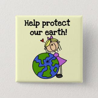 Mädchen schützen unsere Erdt-shirts und -geschenke Quadratischer Button 5,1 Cm