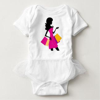 Mädchen-Silhouetteschwarzes Einkaufsmädchen Baby Strampler