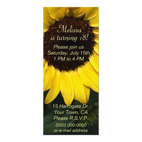 Mädchen-Sonnenblume-Geburtstag 10,2 X 23,5 Cm Einladungskarte