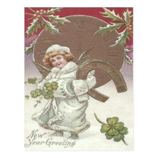 Mädchen-Stechpalmen-Uhr-Hufeisen vierblättriges Postkarte