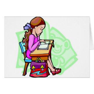 Mädchen-Studien am Schreibtisch Karte