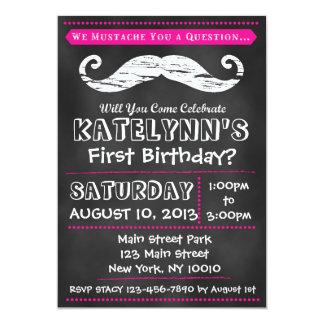 Mädchen-Tafel-Schnurrbart-Geburtstags-Einladung 12,7 X 17,8 Cm Einladungskarte
