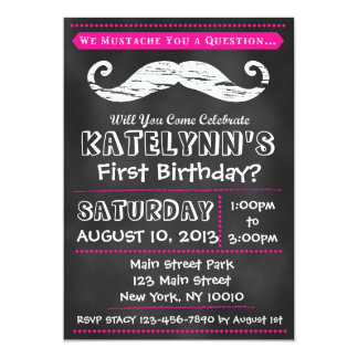 Mädchen-Tafel-Schnurrbart-Geburtstags-Einladung Karte