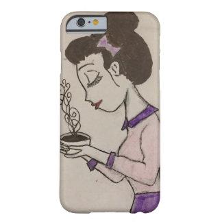 Mädchen-trinkender Tee, iPhone 6 und Kasten des Barely There iPhone 6 Hülle