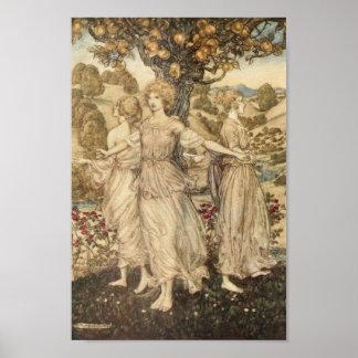 Mädchen um einen Baum Poster