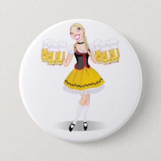 Mädchen-Umhüllungs-Bier-Knopf Runder Button 7,6 Cm