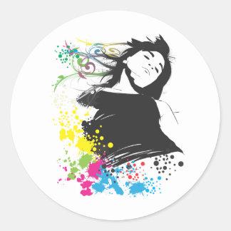 Mädchen und Farben Runde Sticker