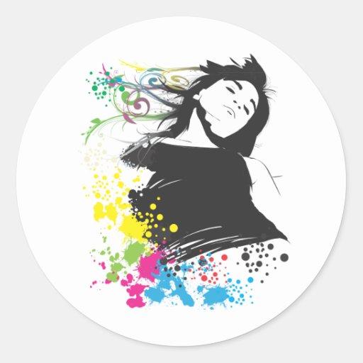 Mädchen und Farben Runder Aufkleber