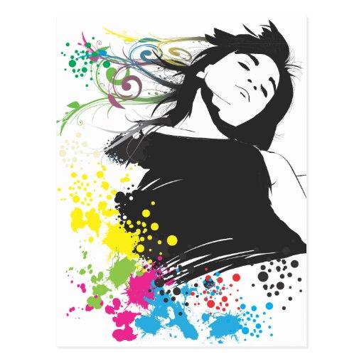 Mädchen und Farben Postkarte