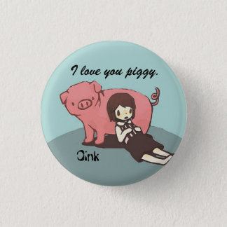 Mädchen und ihr Schwein Runder Button 2,5 Cm